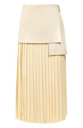 Женская юбка-миди JOSEPH бежевого цвета, арт. JF003295 | Фото 1 (Длина Ж (юбки, платья, шорты): Миди; Материал внешний: Лен; Материал подклада: Хлопок; Статус проверки: Проверена категория)