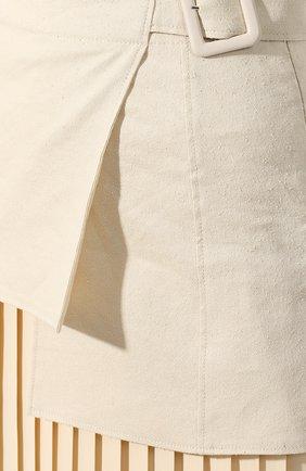 Женская юбка-миди JOSEPH бежевого цвета, арт. JF003295 | Фото 5 (Длина Ж (юбки, платья, шорты): Миди; Материал внешний: Лен; Материал подклада: Хлопок; Статус проверки: Проверена категория)