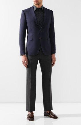 Мужская хлопковая сорочка с воротником кент BOTTEGA VENETA темно-серого цвета, арт. 424646/VCZ00 | Фото 2