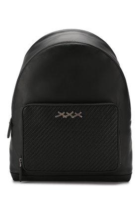 Мужской кожаный рюкзак ZEGNA COUTURE черного цвета, арт. C1390P-HPT | Фото 1