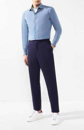 Мужской хлопковые брюки ERMENEGILDO ZEGNA темно-синего цвета, арт. USI16/TT11 | Фото 2