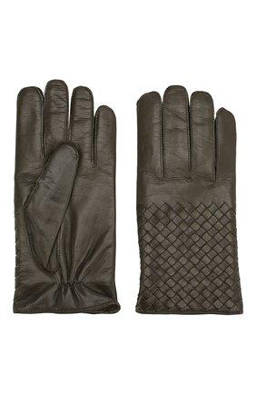 Мужские кожаные перчатки BOTTEGA VENETA темно-зеленого цвета, арт. 356650/V5100 | Фото 2