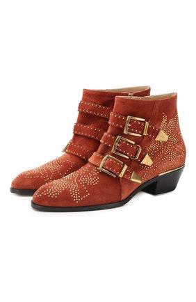 Женские замшевые ботинки susanna CHLOÉ светло-коричневого цвета, арт. CHC17A13418 | Фото 1