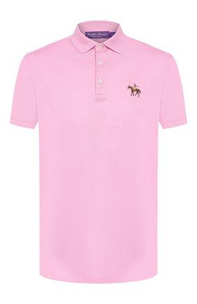 Мужское хлопковое поло RALPH LAUREN розового цвета, арт. 790508036 | Фото 1