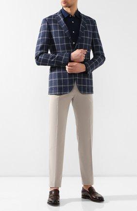 Мужская хлопковая рубашка  KITON темно-синего цвета, арт. UMCNERCH0690401   Фото 2