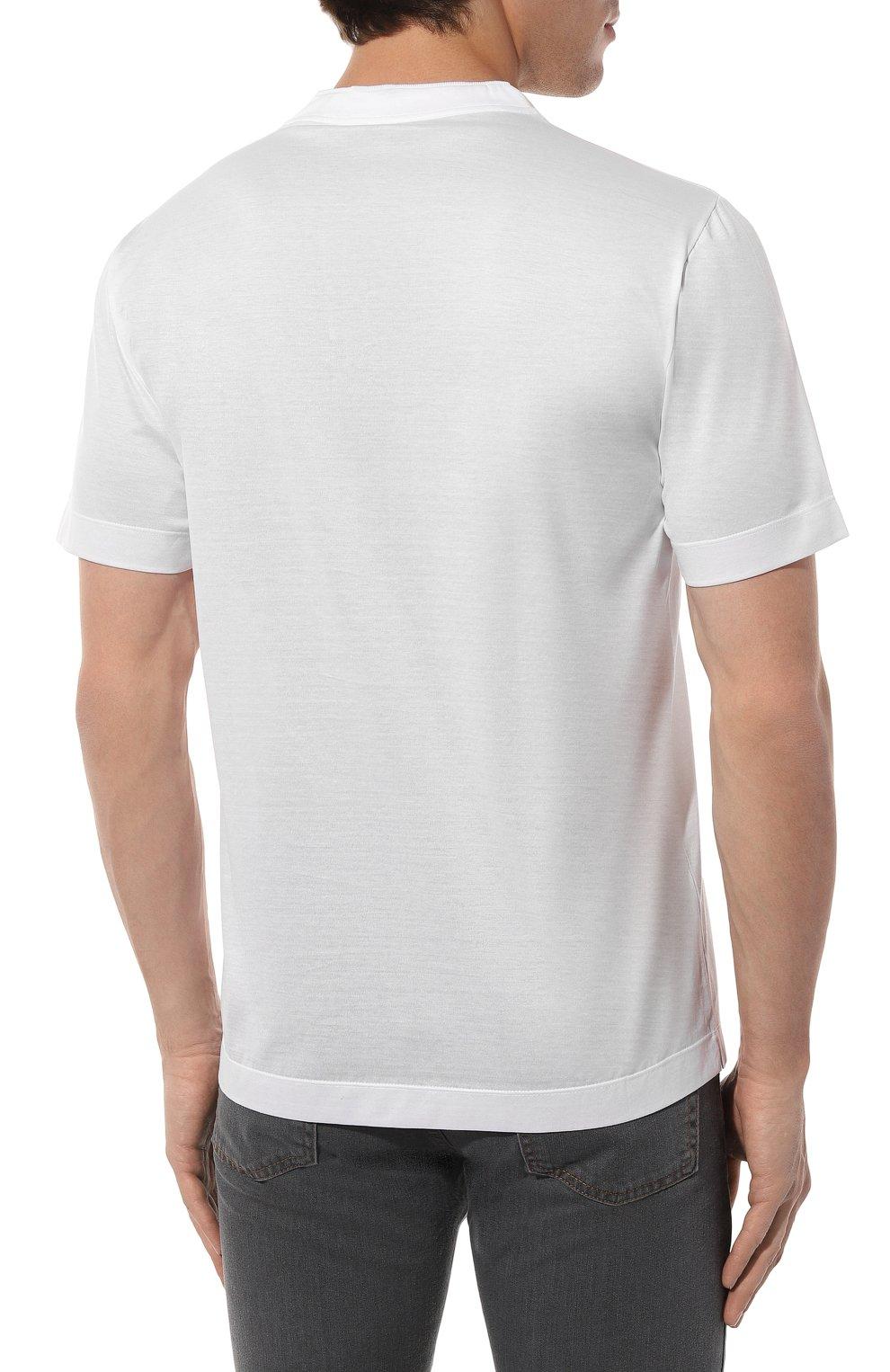 Мужская хлопковая футболка CANALI белого цвета, арт. T0356/MJ00002 | Фото 4