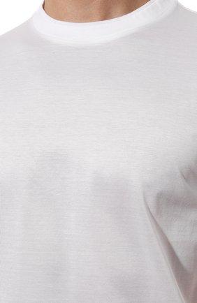 Мужская хлопковая футболка CANALI белого цвета, арт. T0356/MJ00002 | Фото 5