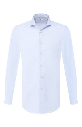 Мужская хлопковая рубашка  KITON голубого цвета, арт. UCIH0693009 | Фото 1