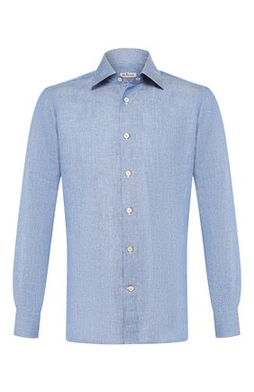 Мужская хлопковая рубашка  KITON синего цвета, арт. UMCNERH0681402 | Фото 1