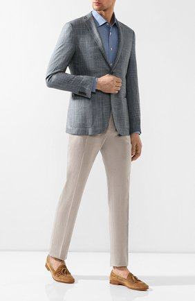 Мужская хлопковая рубашка  KITON синего цвета, арт. UMCNERH0681402 | Фото 2