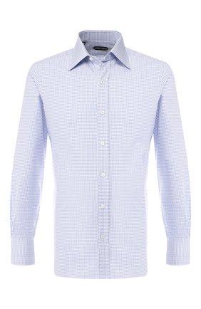 Мужская хлопковая рубашка  TOM FORD голубого цвета, арт. 5FT608/94S1JE | Фото 1