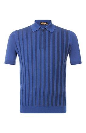 Мужское поло из смеси шелка и хлопка ZILLI синего цвета, арт. MBR-PZ122-VEDE1/MC01 | Фото 1