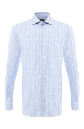 Мужская хлопковая рубашка  TOM FORD голубого цвета, арт. 5FT146/94C1AX | Фото 1
