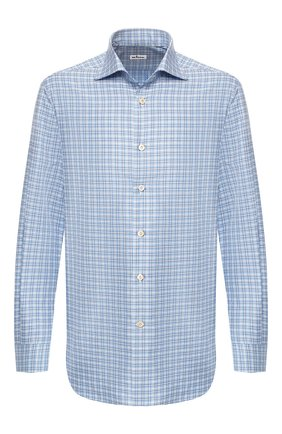 Мужская хлопковая рубашка  KITON синего цвета, арт. UCIH0623810 | Фото 1