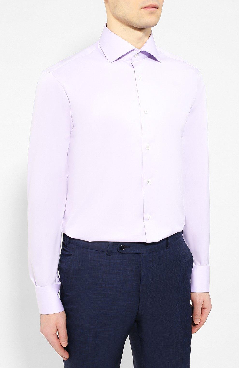 f131a00d3fc2cea Мужская сиреневая хлопковая рубашка VAN LAACK — купить за 14450 руб ...