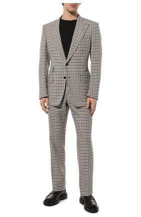 Мужской костюм из смеси шерсти и шелка TOM FORD черно-белого цвета, арт. 539R25/21AL43 | Фото 1