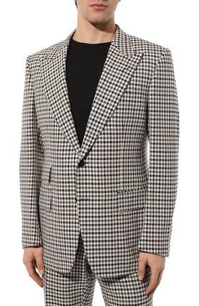 Мужской костюм из смеси шерсти и шелка TOM FORD черно-белого цвета, арт. 539R25/21AL43 | Фото 2
