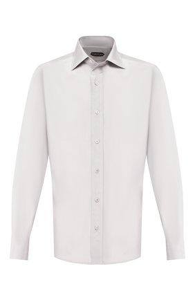 Мужская рубашка из смеси хлопка и шелка TOM FORD серого цвета, арт. 5FT587/94WGMJ | Фото 1