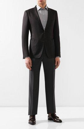 Мужская рубашка из смеси хлопка и шелка TOM FORD серого цвета, арт. 5FT587/94WGMJ | Фото 2