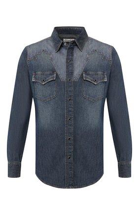 Мужская джинсовая рубашка  SAINT LAURENT синего цвета, арт. 552606/YH880 | Фото 1