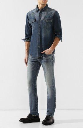 Мужская джинсовая рубашка  SAINT LAURENT синего цвета, арт. 552606/YH880 | Фото 2