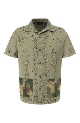 Мужская хлопковая рубашка  RRL хаки цвета, арт. 782733257 | Фото 1