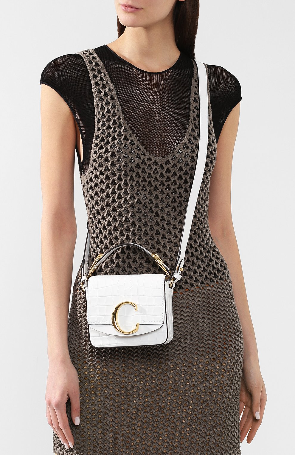 Женская сумка chloé c mini CHLOÉ белого цвета, арт. CHC19US193A87 | Фото 5