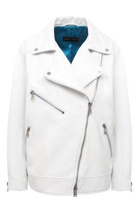Женская кожаная куртка MASLOV белого цвета, арт. SMW101 | Фото 1