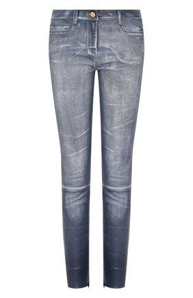 Женские кожаные брюки JITROIS голубого цвета, арт. PANTS WYNN AGNEAU STRETCH HALLU ST0NE-WASHED | Фото 1