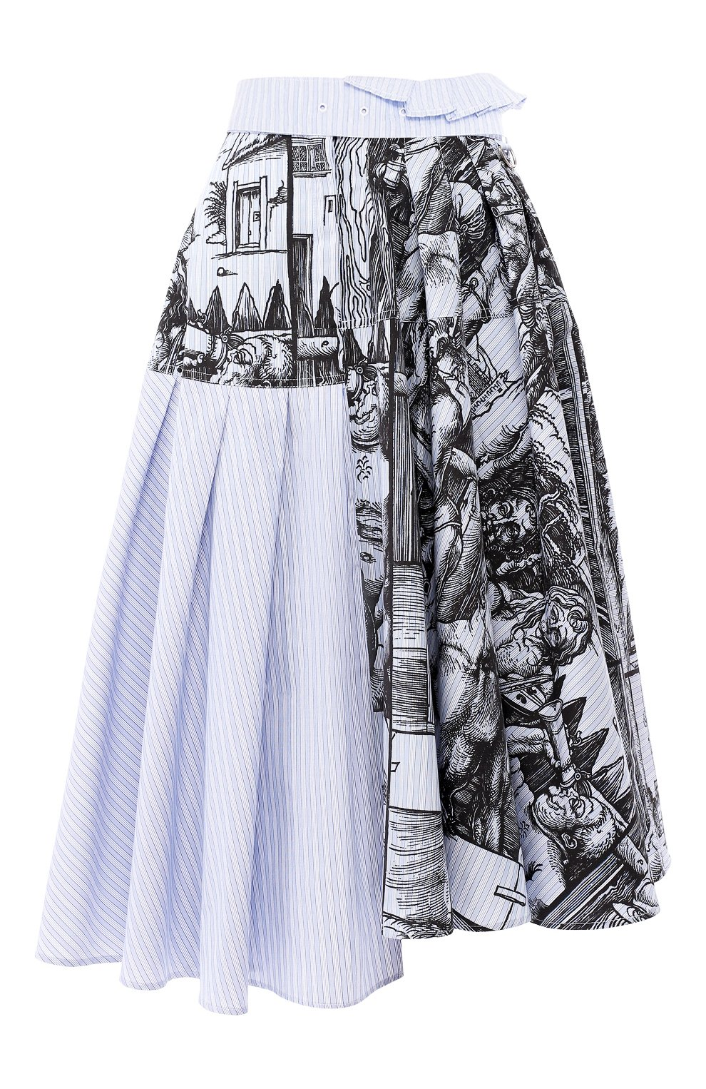 Женская хлопковая юбка JW ANDERSON голубого цвета, арт. SK04519A 620/836   Фото 1 (Материал внешний: Хлопок; Длина Ж (юбки, платья, шорты): Миди; Статус проверки: Проверена категория)