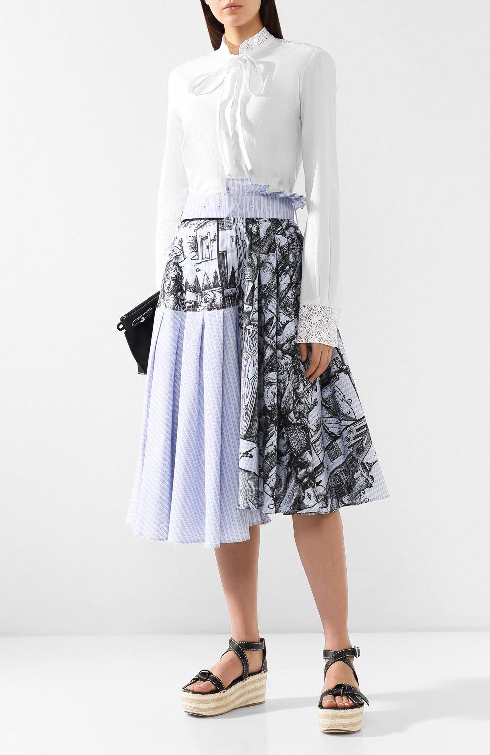 Женская хлопковая юбка JW ANDERSON голубого цвета, арт. SK04519A 620/836   Фото 2 (Материал внешний: Хлопок; Длина Ж (юбки, платья, шорты): Миди; Статус проверки: Проверена категория)