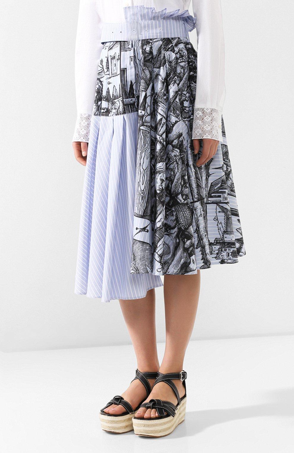 Женская хлопковая юбка JW ANDERSON голубого цвета, арт. SK04519A 620/836   Фото 3 (Материал внешний: Хлопок; Длина Ж (юбки, платья, шорты): Миди; Статус проверки: Проверена категория)