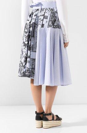Женская хлопковая юбка JW ANDERSON голубого цвета, арт. SK04519A 620/836   Фото 4 (Материал внешний: Хлопок; Длина Ж (юбки, платья, шорты): Миди; Статус проверки: Проверена категория)