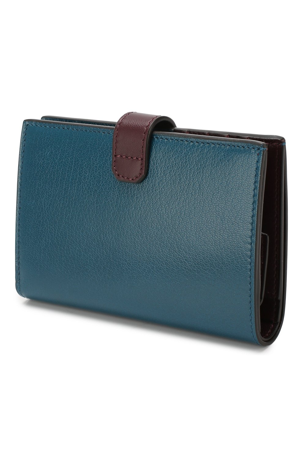 Кожаный кошелек GV3 Givenchy бирюзового цвета | Фото №2