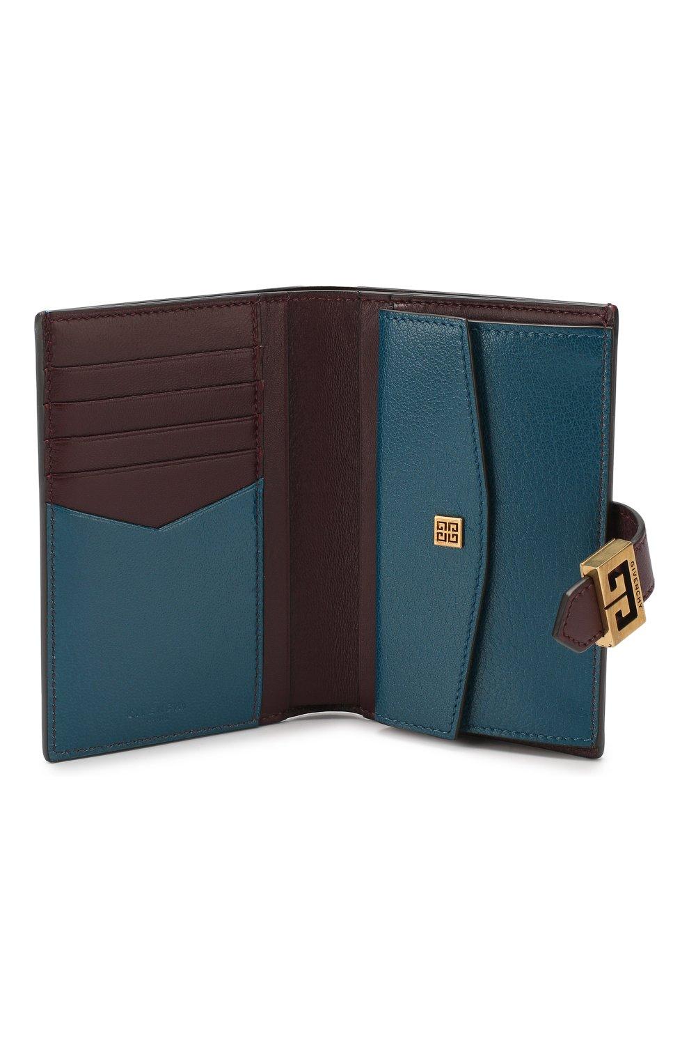 Кожаный кошелек GV3 Givenchy бирюзового цвета | Фото №3