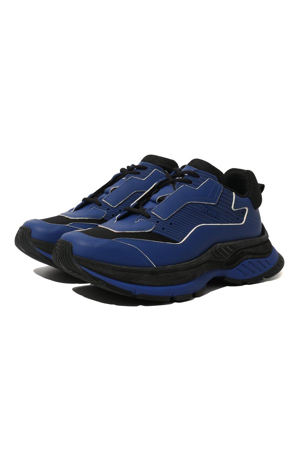 Мужские кожаные кроссовки BERLUTI синего цвета, арт. S4781-002 | Фото 1 (Материал внешний: Текстиль, Кожа; Материал внутренний: Натуральная кожа, Текстиль; Стили: Гранж; Статус проверки: Проверено, Проверена категория; Подошва: Массивная)