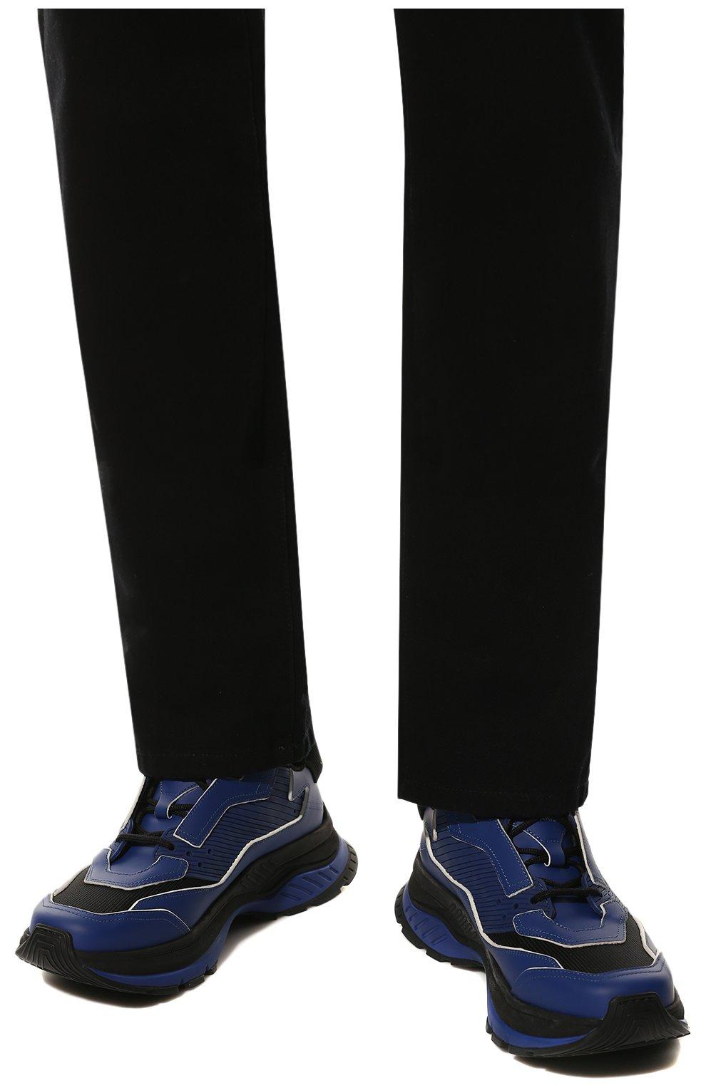 Мужские кожаные кроссовки BERLUTI синего цвета, арт. S4781-002 | Фото 3 (Материал внешний: Текстиль, Кожа; Материал внутренний: Натуральная кожа, Текстиль; Стили: Гранж; Статус проверки: Проверено, Проверена категория; Подошва: Массивная)