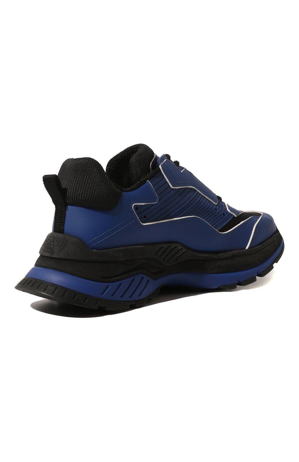 Мужские кожаные кроссовки BERLUTI синего цвета, арт. S4781-002 | Фото 5 (Материал внешний: Текстиль, Кожа; Материал внутренний: Натуральная кожа, Текстиль; Стили: Гранж; Статус проверки: Проверено, Проверена категория; Подошва: Массивная)