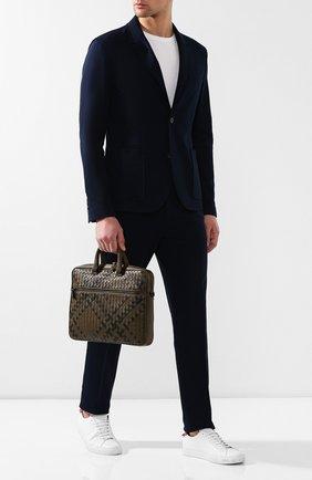 Мужская кожаная сумка для ноутбука BOTTEGA VENETA хаки цвета, арт. 570983/V0EKF | Фото 2