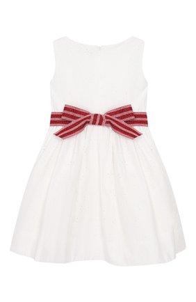 Детское хлопковое платье MONNALISA белого цвета, арт. 113936FA | Фото 2