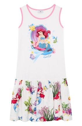 Детское хлопковое платье MONNALISA белого цвета, арт. 113932P9 | Фото 1