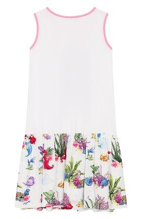 Детское хлопковое платье MONNALISA белого цвета, арт. 113932P9 | Фото 2