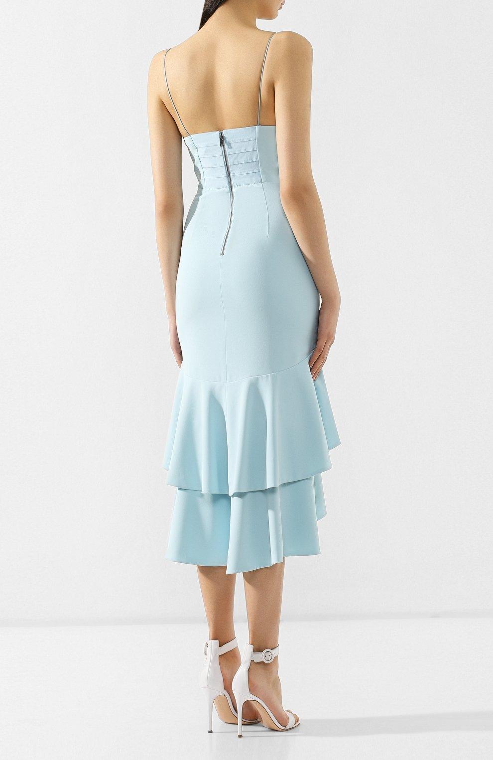 Женское платье с оборками ALICE + OLIVIA голубого цвета, арт. CC902202526 | Фото 4