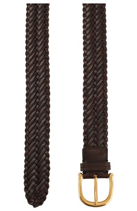 Мужской кожаный ремень TOM FORD темно-коричневого цвета, арт. TB212F/IC7 | Фото 2