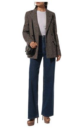 Женские кожаные босоножки tribute SAINT LAURENT бежевого цвета, арт. 457752/B8I00 | Фото 2