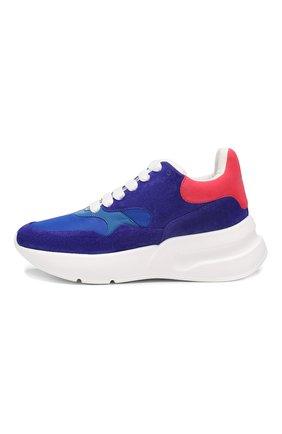 Комбинированные кроссовки Alexander McQueen синие | Фото №3