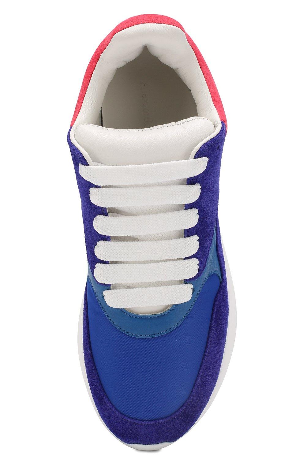 Комбинированные кроссовки Alexander McQueen синие | Фото №5