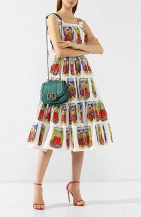 Женская сумка dg amore DOLCE & GABBANA зеленого цвета, арт. BB6677/AK295   Фото 2 (Материал: Натуральная кожа; Размер: small; Ремень/цепочка: На ремешке; Статус проверки: Проверено, Проверена категория; Сумки-технические: Сумки через плечо)