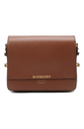 Женская сумка horseferry BURBERRY коричневого цвета, арт. 8012004   Фото 1 (Материал: Натуральная кожа; Ремень/цепочка: На ремешке; Размер: mini; Сумки-технические: Сумки через плечо; Статус проверки: Проверена категория)