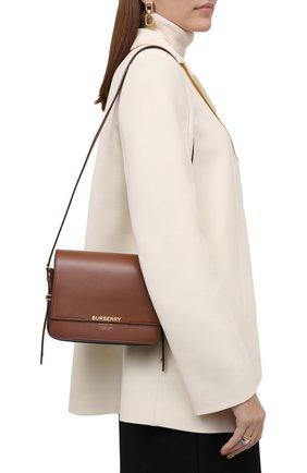 Женская сумка horseferry BURBERRY коричневого цвета, арт. 8012004   Фото 2 (Материал: Натуральная кожа; Ремень/цепочка: На ремешке; Размер: mini; Сумки-технические: Сумки через плечо; Статус проверки: Проверена категория)